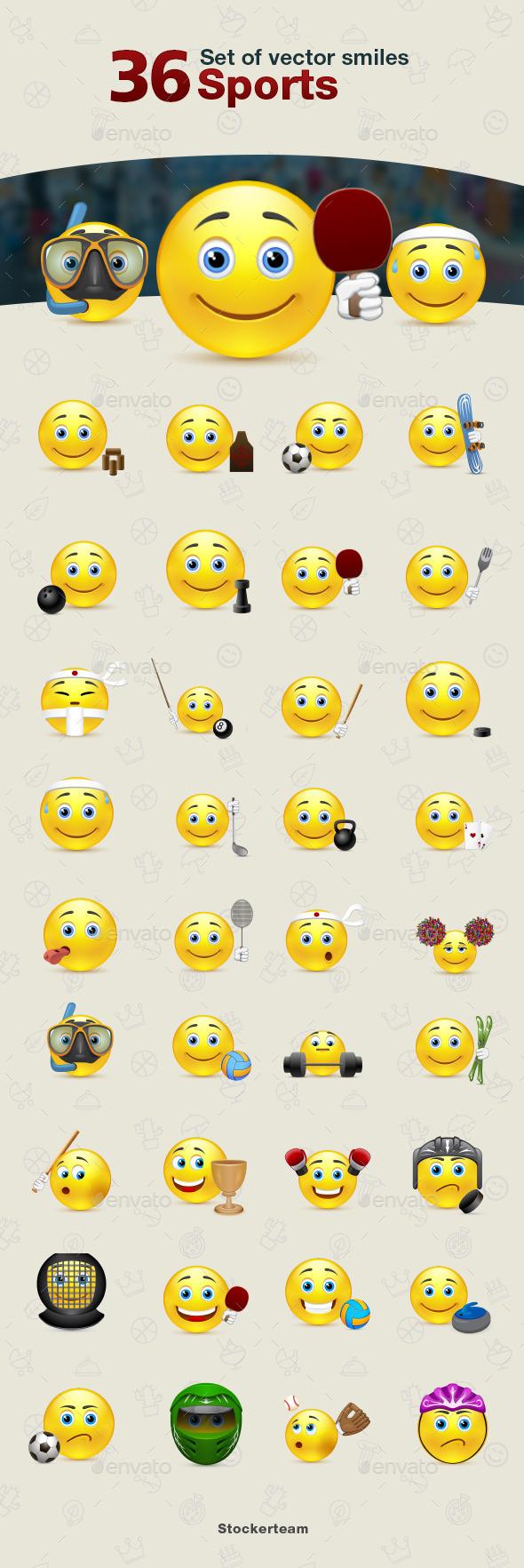 Smiles 36 Sports - Characters Vectors