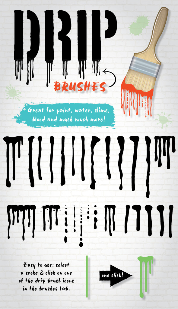 Drip Brushes - Brushes Illustrator