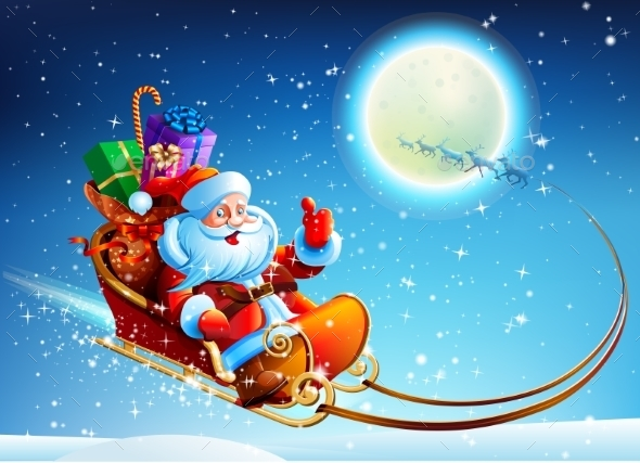 Santa Claus in a Sleigh - Christmas Seasons/Holidays