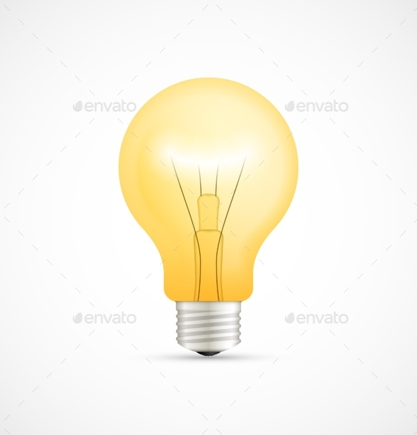 Realistic Glowing Yellow Light Bulb - Man-made Objects Objects