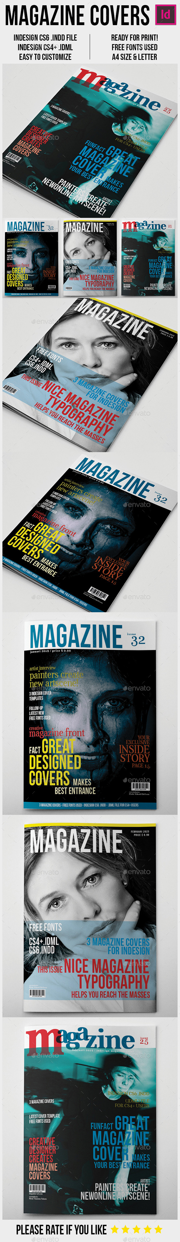 Magazine Covers Template A4 - Magazines Print Templates