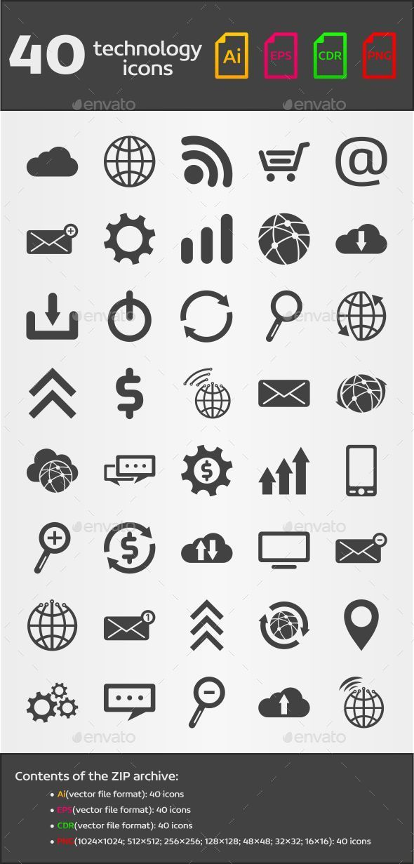 40 Technology Icons - Technology Icons