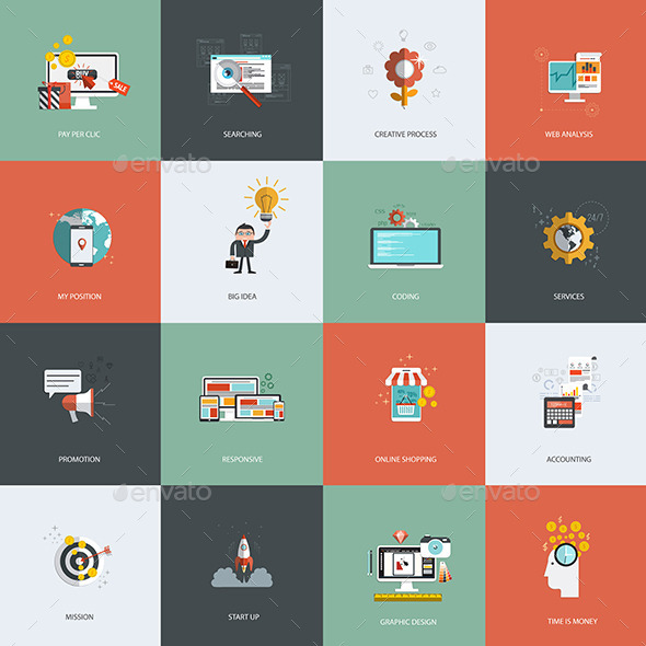 Set of Flat Design Concept Icon - Business Icons