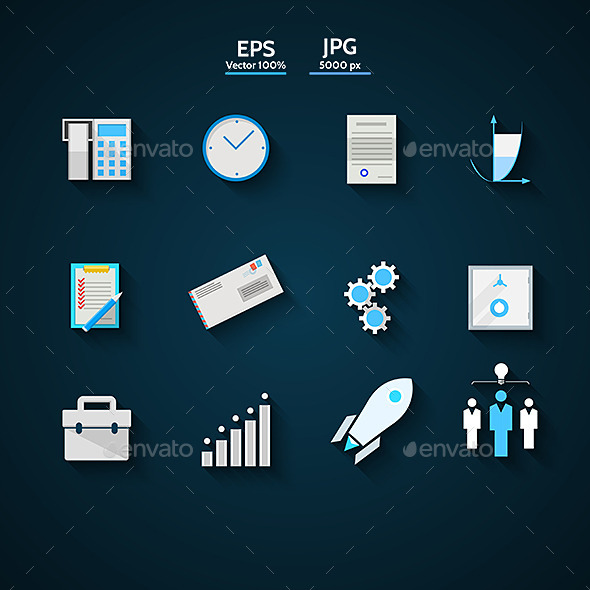 Flat Icons Colored Collection for Business - Concepts Business