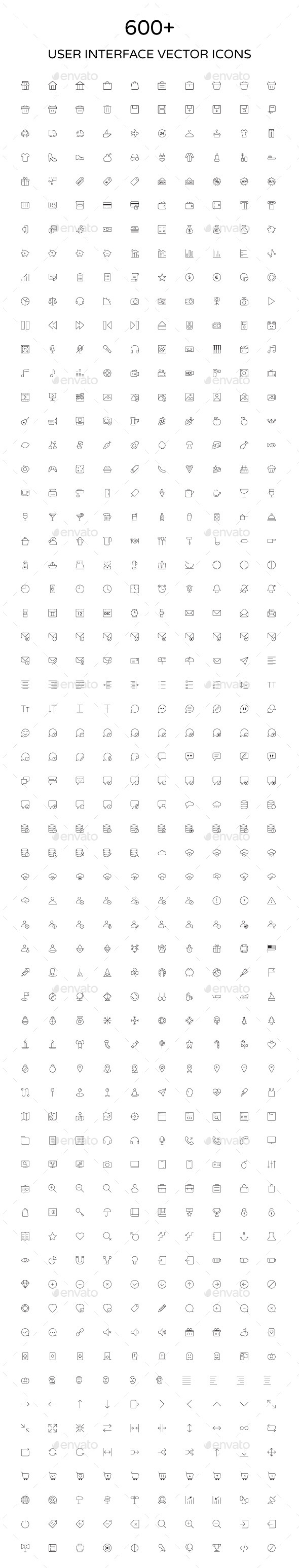 User Interface Outline Vector Icons - Web Icons