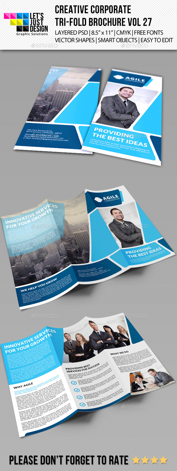 Creative Corporate Tri-Fold Brochure Vol 27 - Corporate Brochures