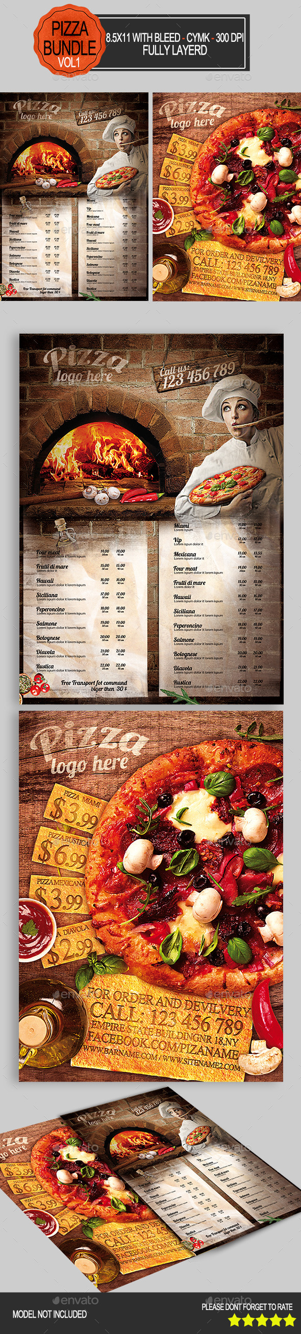 Pizza Flyer Bundle Vol1   - Restaurant Flyers