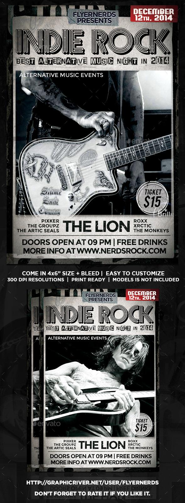 Indie Rock Night Flyer - Concerts Events