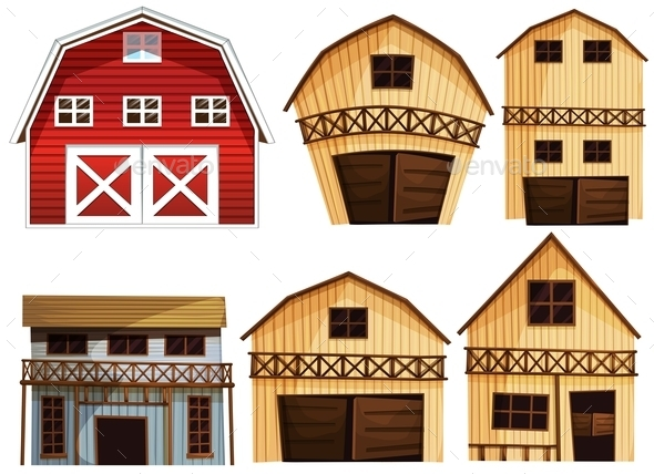 Barns Set - Buildings Objects