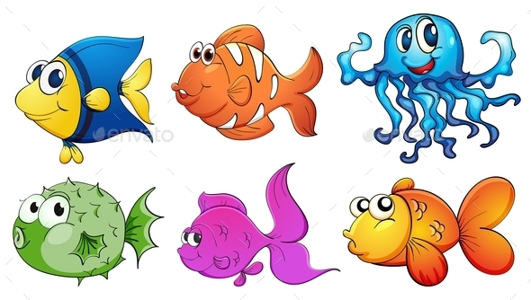 Five Different Kinds of Sea Creatures - Animals Characters