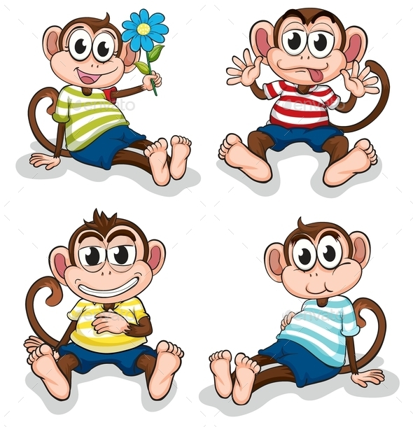 Monkeys with Different Facial Expressions - Animals Characters