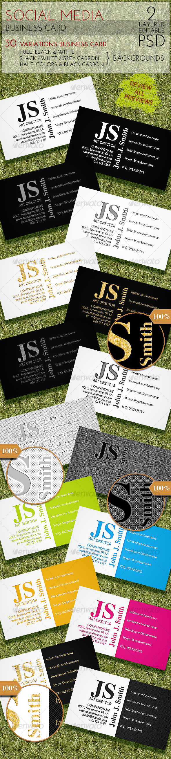Social Media Business Card - Corporate Business Cards