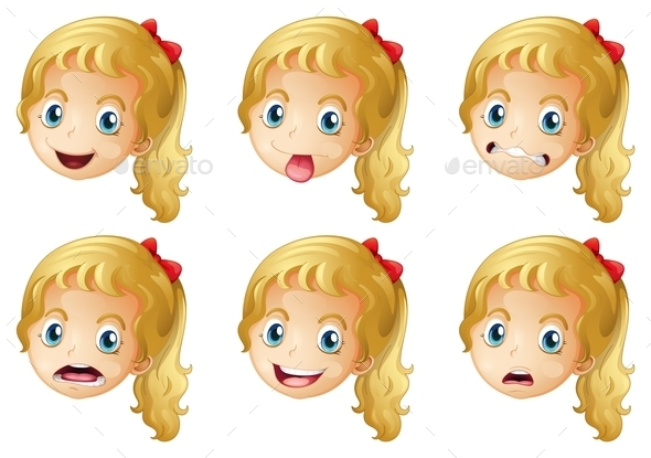 Girl Faces with Expressions - People Characters