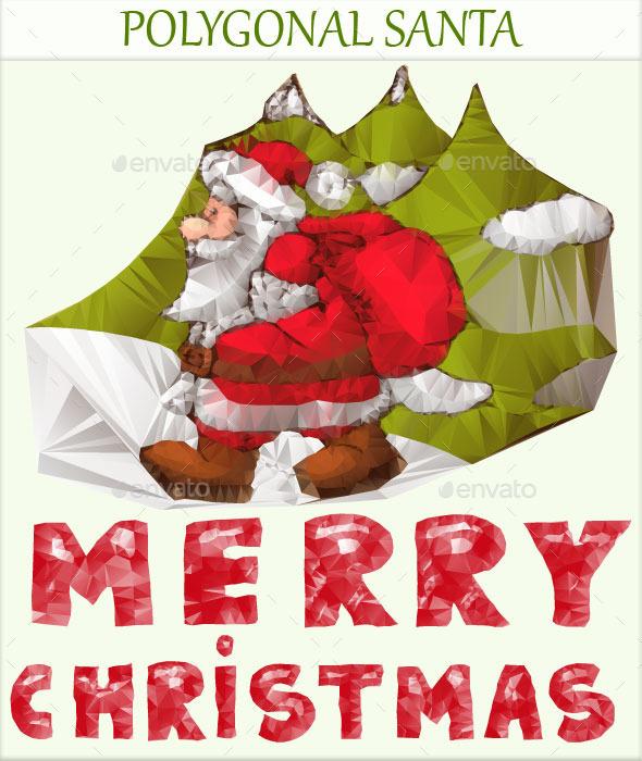 Polygonal Santa - Christmas Seasons/Holidays