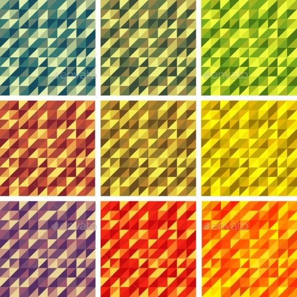 Set Colorful 9 Bright Geometric Backgrounds. - Miscellaneous Vectors
