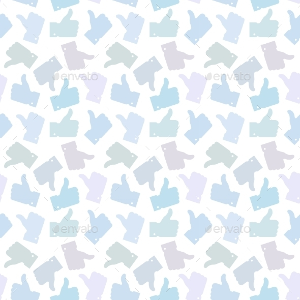 Seamless Pattern. Light Thumb Up Icons. - Miscellaneous Vectors