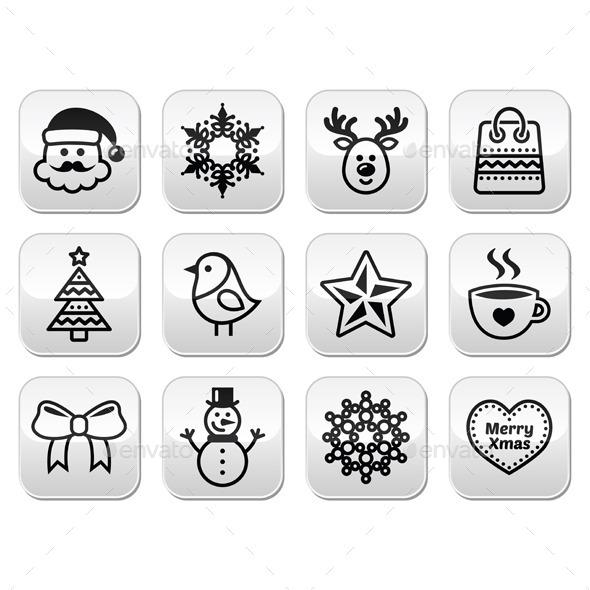 Christmas, Winter Buttons Set  - Christmas Seasons/Holidays