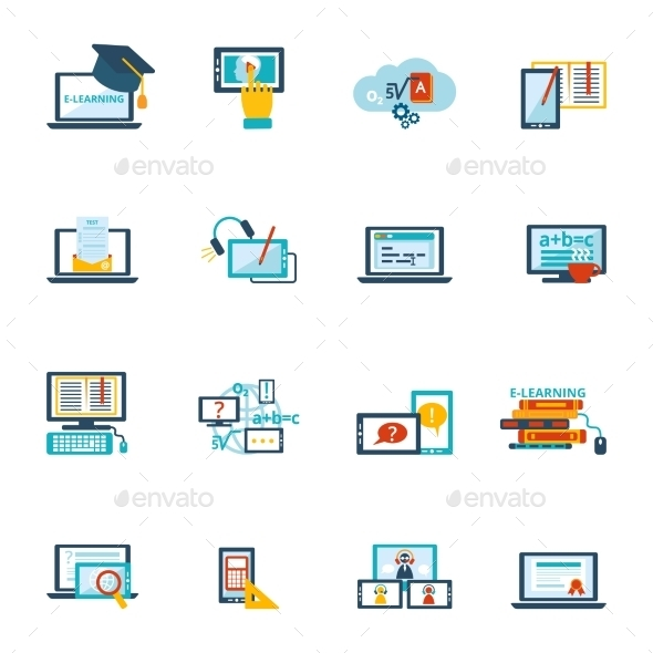 E-Learning Icon Flat - Web Technology