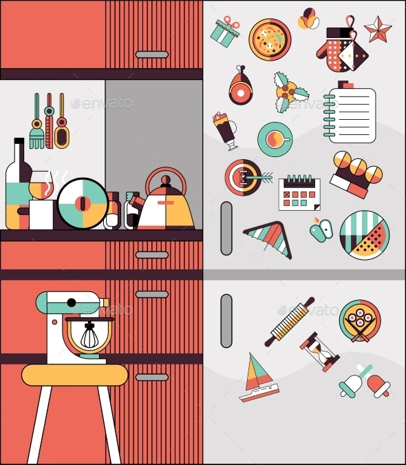 Kitchen Interior Flat Line - Abstract Conceptual