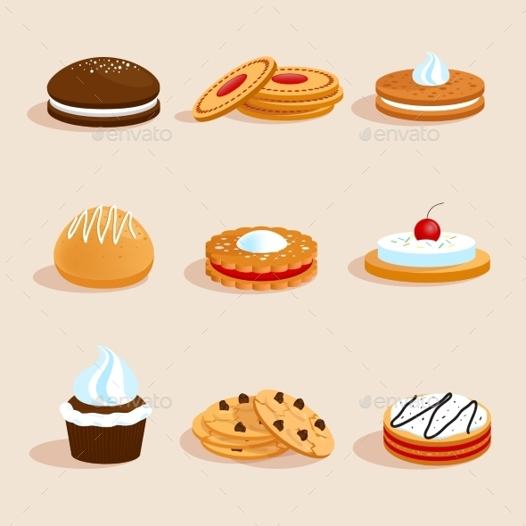 Cookies Set Isolated - Food Objects