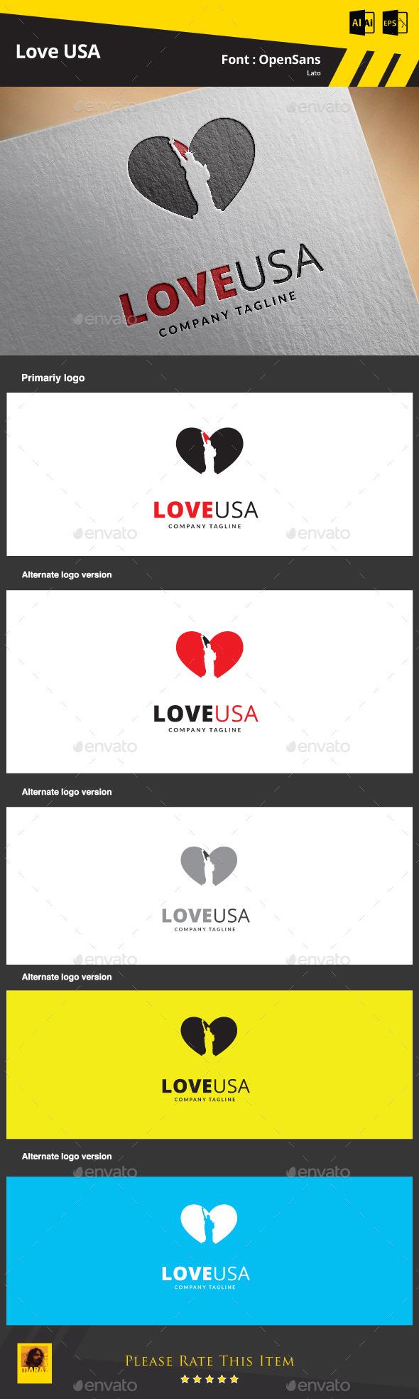 Love USA  Logo Template - Symbols Logo Templates