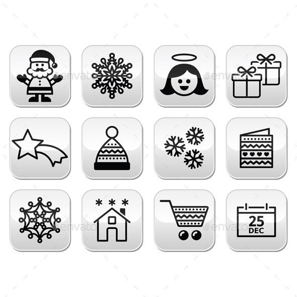 Christmas, Xmas Celebrate Buttons Set - Christmas Seasons/Holidays