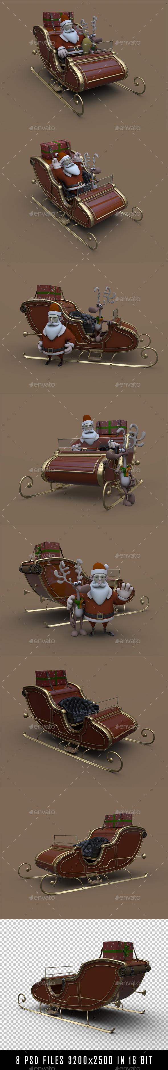 Santa's Sled - 3D Renders Graphics