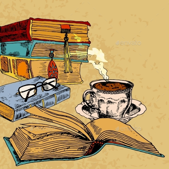 Cup of Coffee and Books - Miscellaneous Vectors