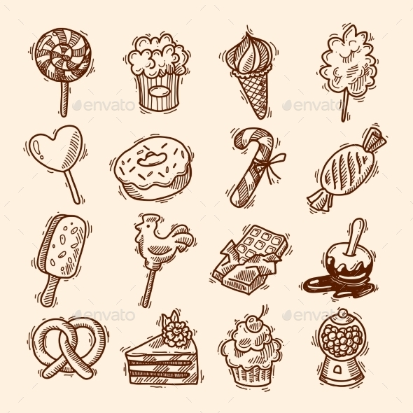 Sweets Sketch Icon Set - Food Objects