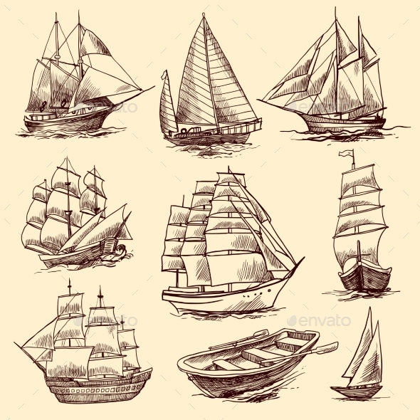 Ships and Boats Sketch Set - Travel Conceptual