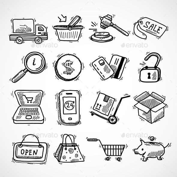 Shopping E-Commerce Sketch Icons Set - Retail Commercial / Shopping