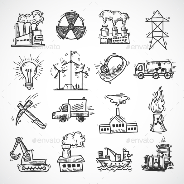 Industrial Sketch Icon Set - Industries Business