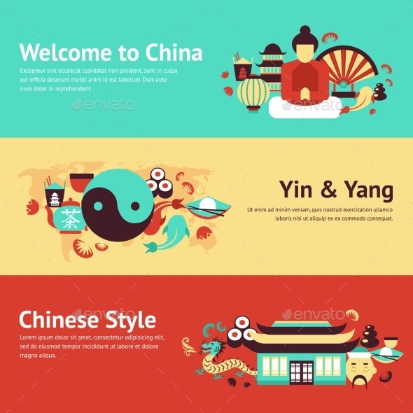 China Banner Set - Travel Conceptual