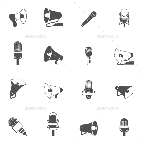Microphone and Megaphone Icons Black - Media Technology