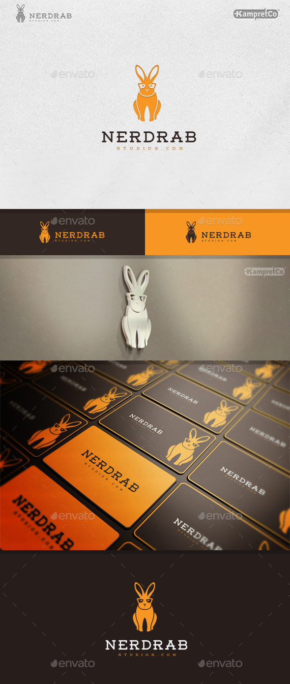 Nerd Rabbit Logo - Animals Logo Templates