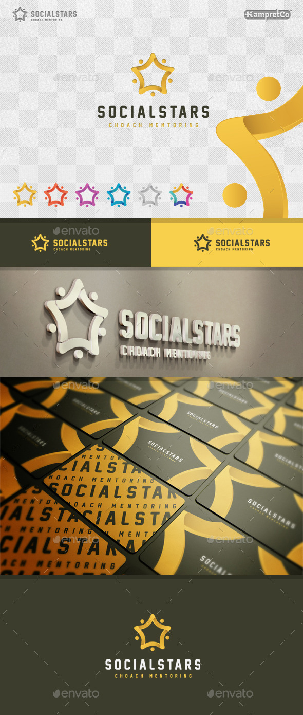 Social Stars Logo - 3d Abstract