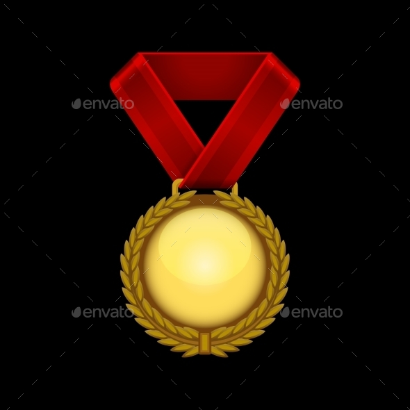 Champion Gold Medal with Red Ribbon. Vector - Sports/Activity Conceptual