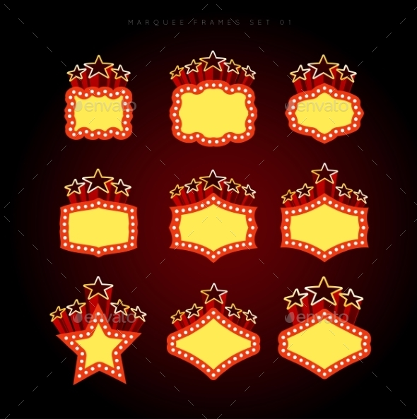 Retro Illuminated Movie Marquee Vector Set - Retro Technology