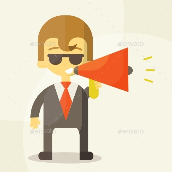 Young Businessman with a Megaphone - Business Conceptual