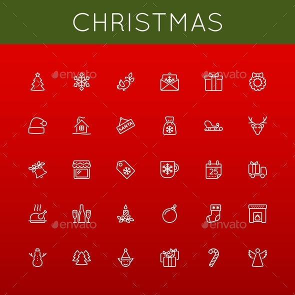 Vector Christmas Line Icons - Seasonal Icons
