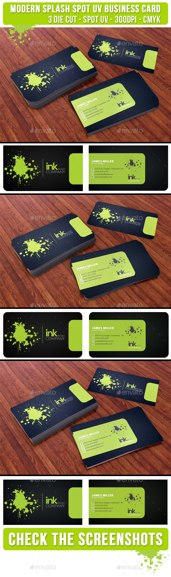 Splash Ink Spot UV Business Card 3 Cuts - Creative Business Cards