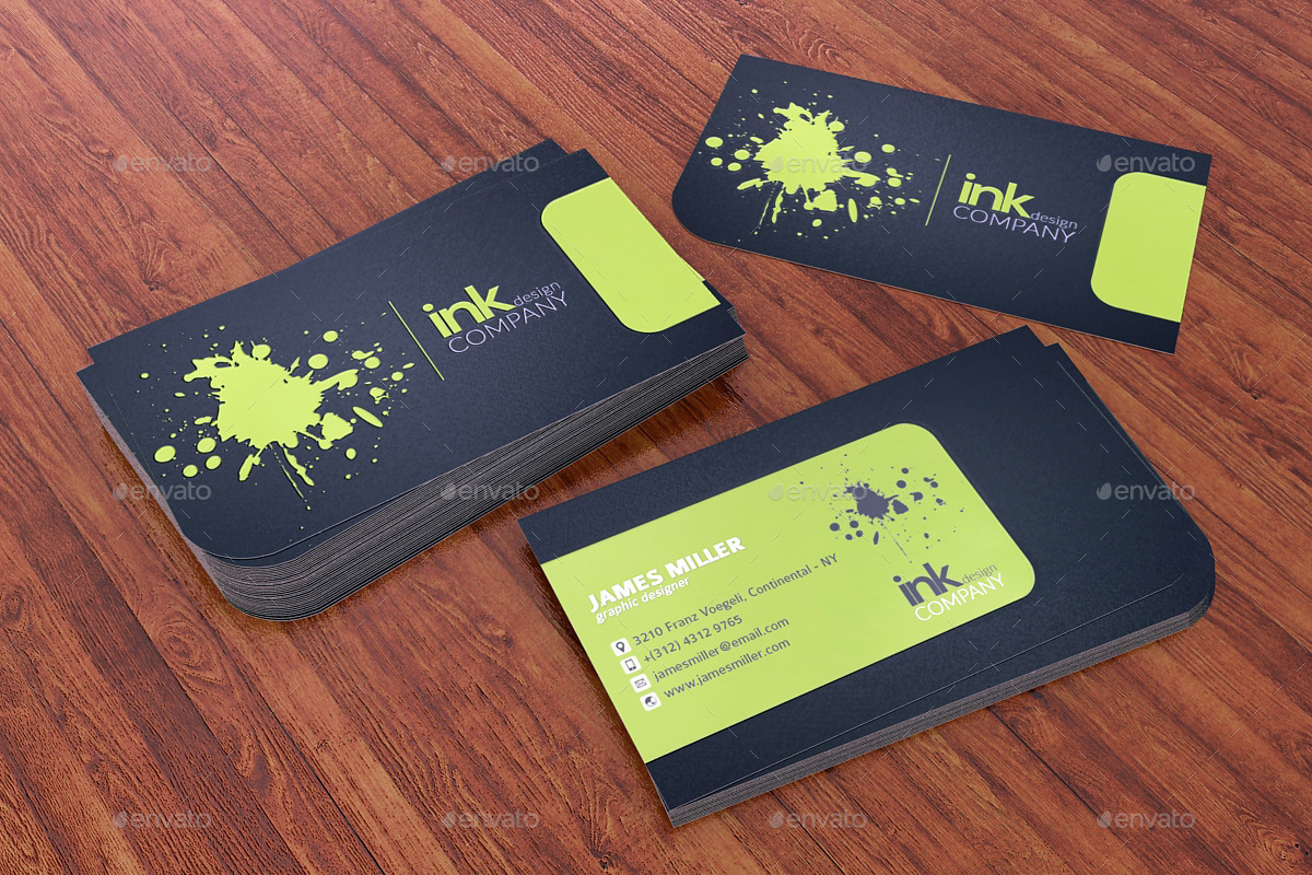 Splash ink spot uv business card 3 cuts by rtahira for Ink business cards