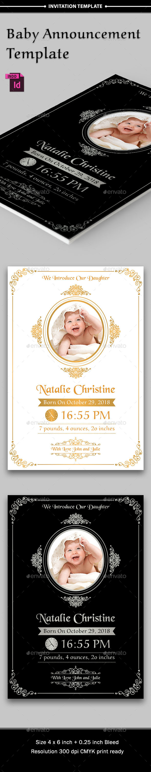 Baby Announcement Template - Vol.4 - Cards & Invites Print Templates