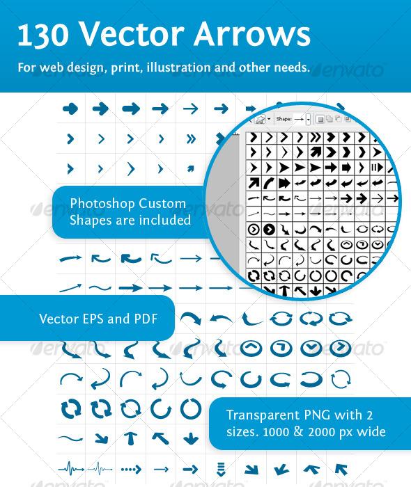 130 vector arrows - Web Elements