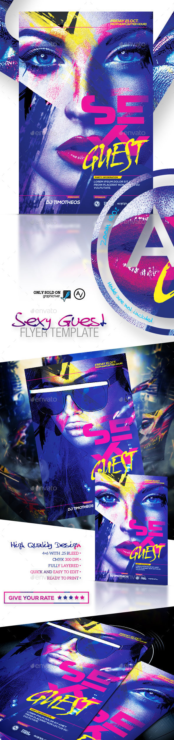 Sexy Guest Flyer Template - Clubs & Parties Events