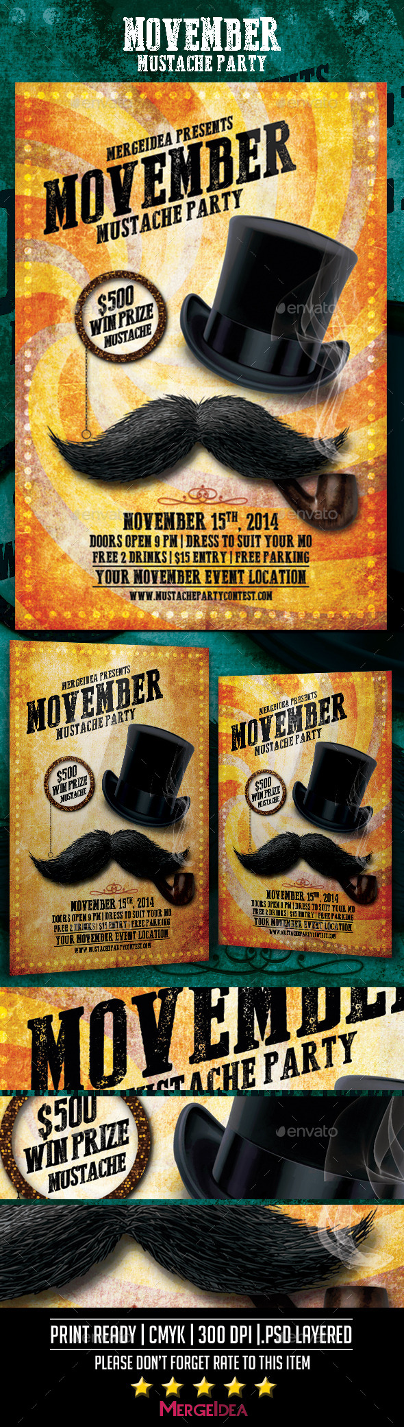 Movember Mustache Party Flyer - Events Flyers