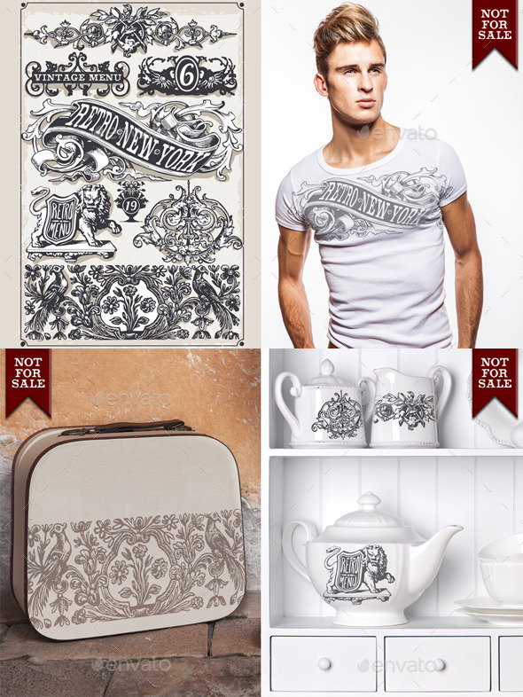 Vintage Page Hand Drawn Banners and Labels - Decorative Vectors