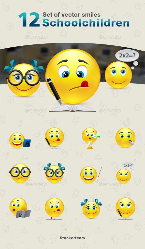 Smiles 12 Schoolchildren - Characters Vectors