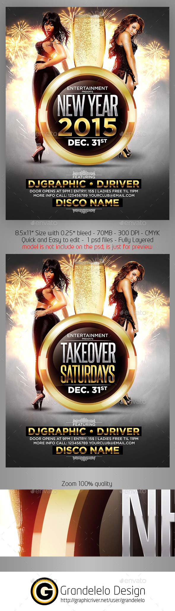 Take Over Saturdays or NYE Flyer Template - Clubs & Parties Events