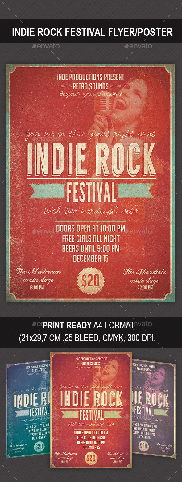 Indie Rock Festival Flyer/Poster - Flyers Print Templates